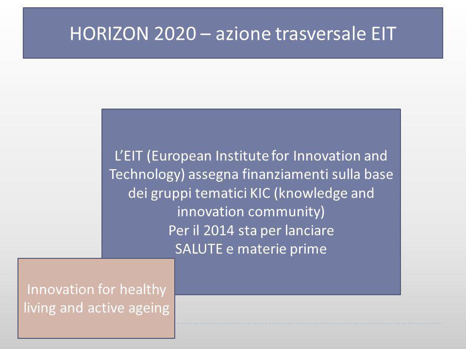 33 HORIZON 2020 – azione trasversale EIT L'EIT (European Institute for Innovation and Technology) assegna finanziamenti sulla base dei gruppi tematici KIC (knowledge and innovation community) Per il 2014 sta per lanciare SALUTE e materie prime Innovation for healthy living and active ageing