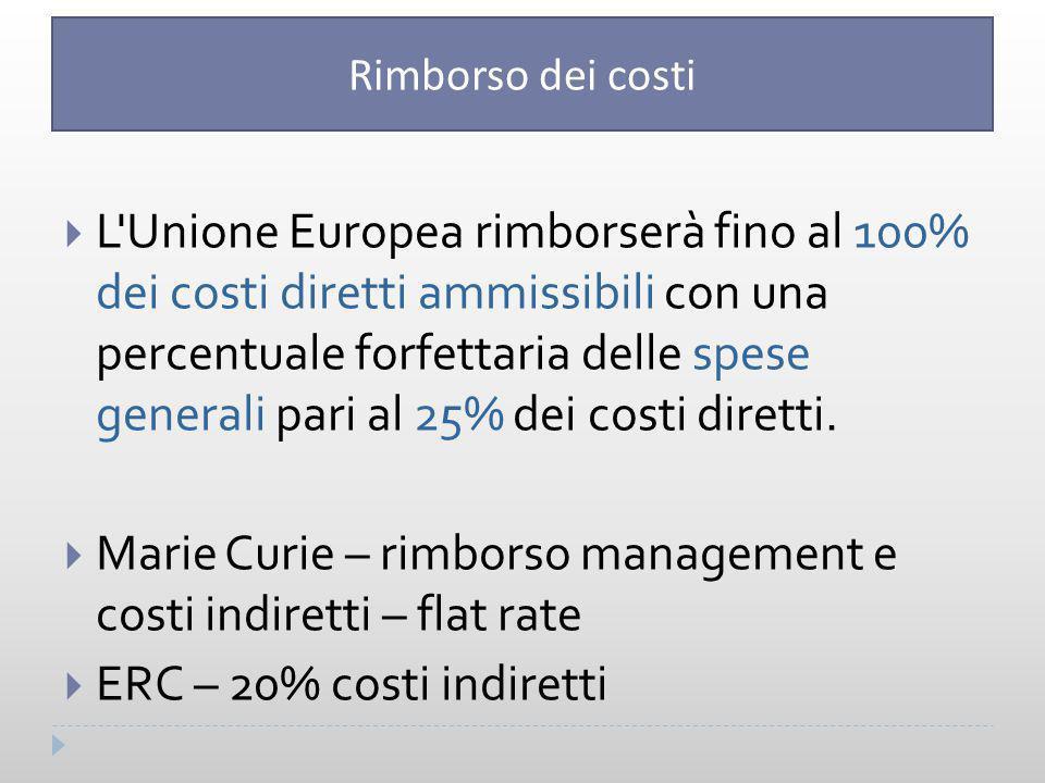  L Unione Europea rimborserà fino al 100% dei costi diretti ammissibili con una percentuale forfettaria delle spese generali pari al 25% dei costi diretti.