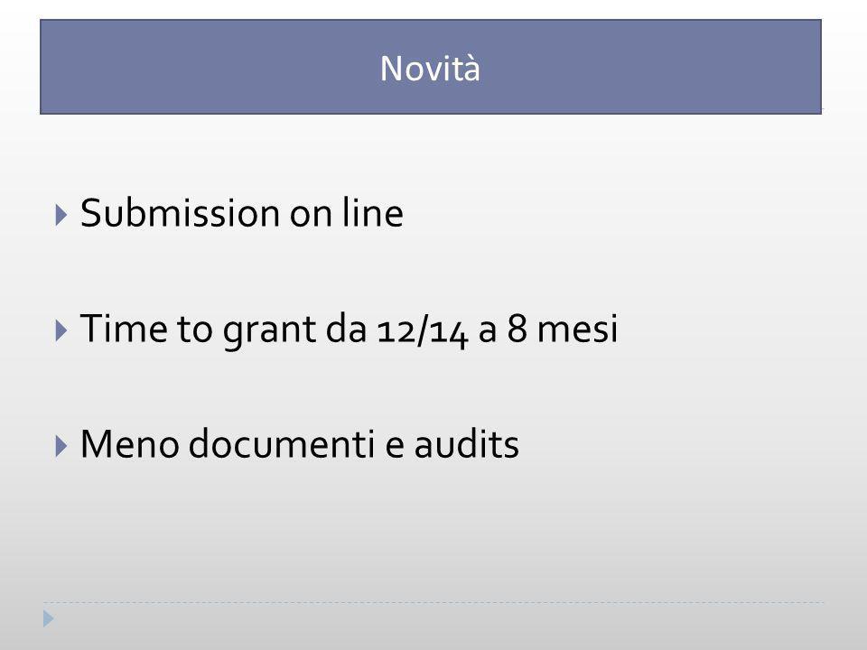 Submission on line  Time to grant da 12/14 a 8 mesi  Meno documenti e audits Novità