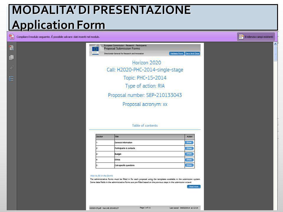 45 MODALITA' DI PRESENTAZIONE Application Form MODALITA' DI PRESENTAZIONE Application Form