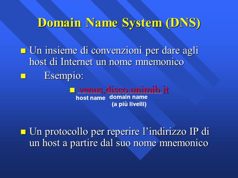 Domain Name System (DNS) n Un insieme di convenzioni per dare agli host di Internet un nome mnemonico n Esempio: n venus.disco.unimib.it n Un protocol