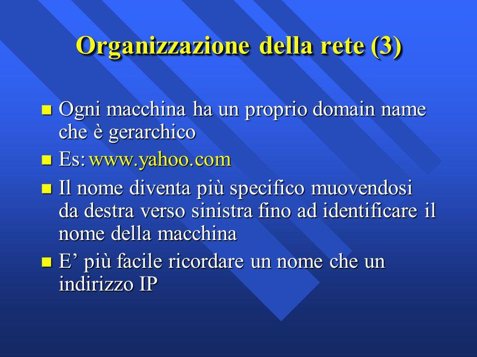 n Ogni macchina ha un proprio domain name che è gerarchico Es:www.yahoo.com Es:www.yahoo.com n Il nome diventa più specifico muovendosi da destra vers