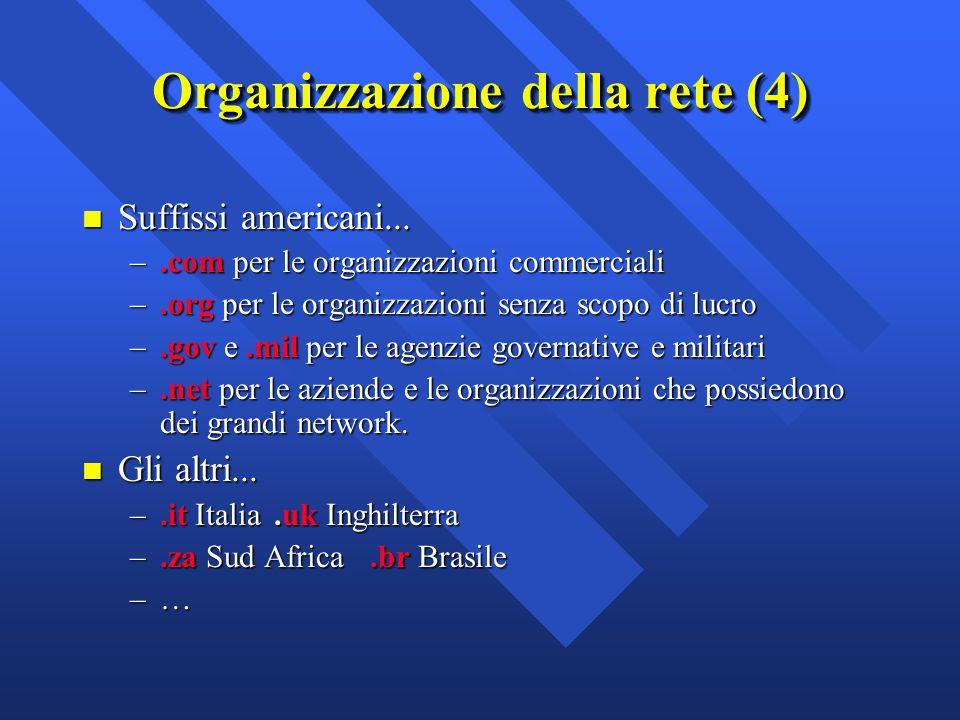 n Suffissi americani... –.com per le organizzazioni commerciali –.org per le organizzazioni senza scopo di lucro –.gov e.mil per le agenzie governativ
