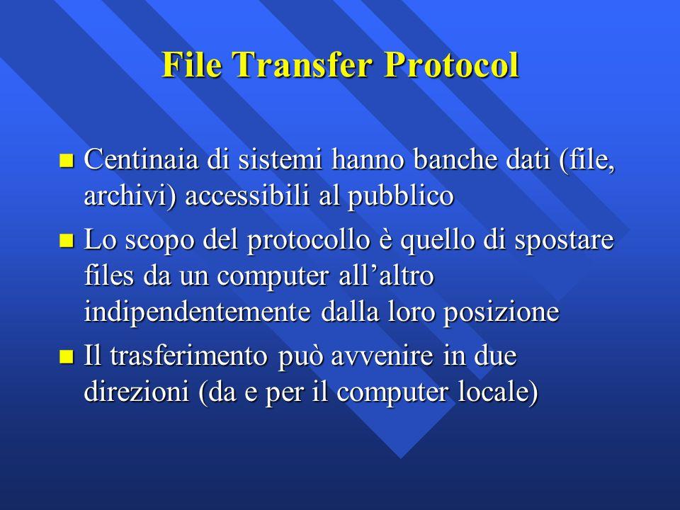 File Transfer Protocol n Centinaia di sistemi hanno banche dati (file, archivi) accessibili al pubblico n Lo scopo del protocollo è quello di spostare