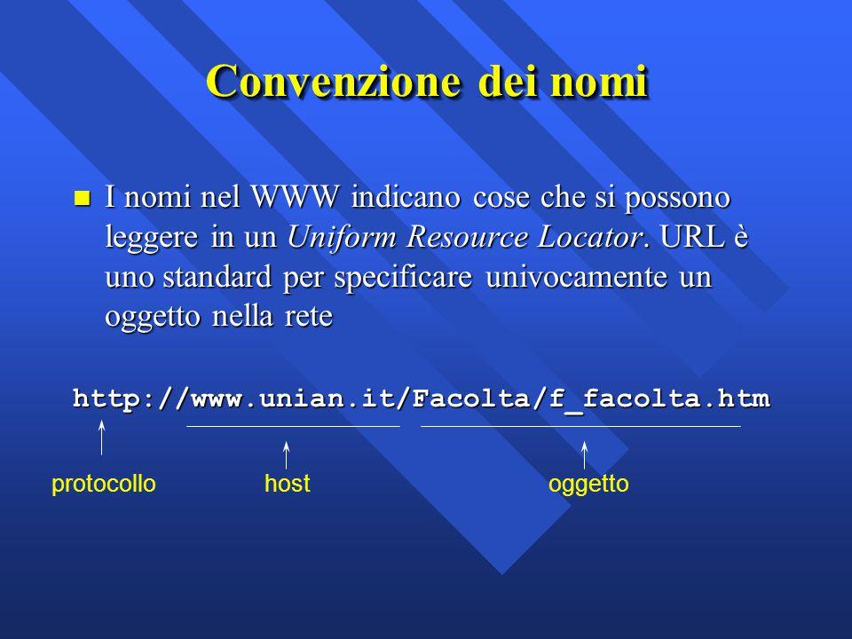Convenzione dei nomi n I nomi nel WWW indicano cose che si possono leggere in un Uniform Resource Locator. URL è uno standard per specificare univocam