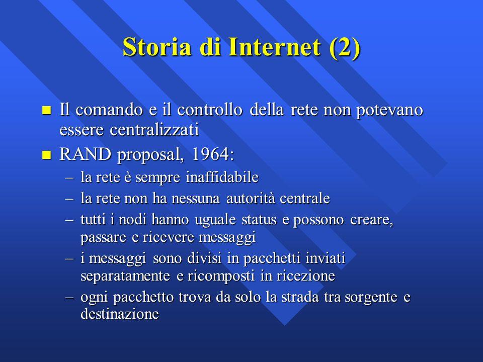 n Il comando e il controllo della rete non potevano essere centralizzati n RAND proposal, 1964: –la rete è sempre inaffidabile –la rete non ha nessuna