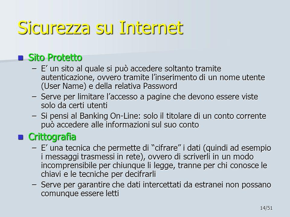 14/51 Sicurezza su Internet Sito Protetto Sito Protetto –E' un sito al quale si può accedere soltanto tramite autenticazione, ovvero tramite l'inserim
