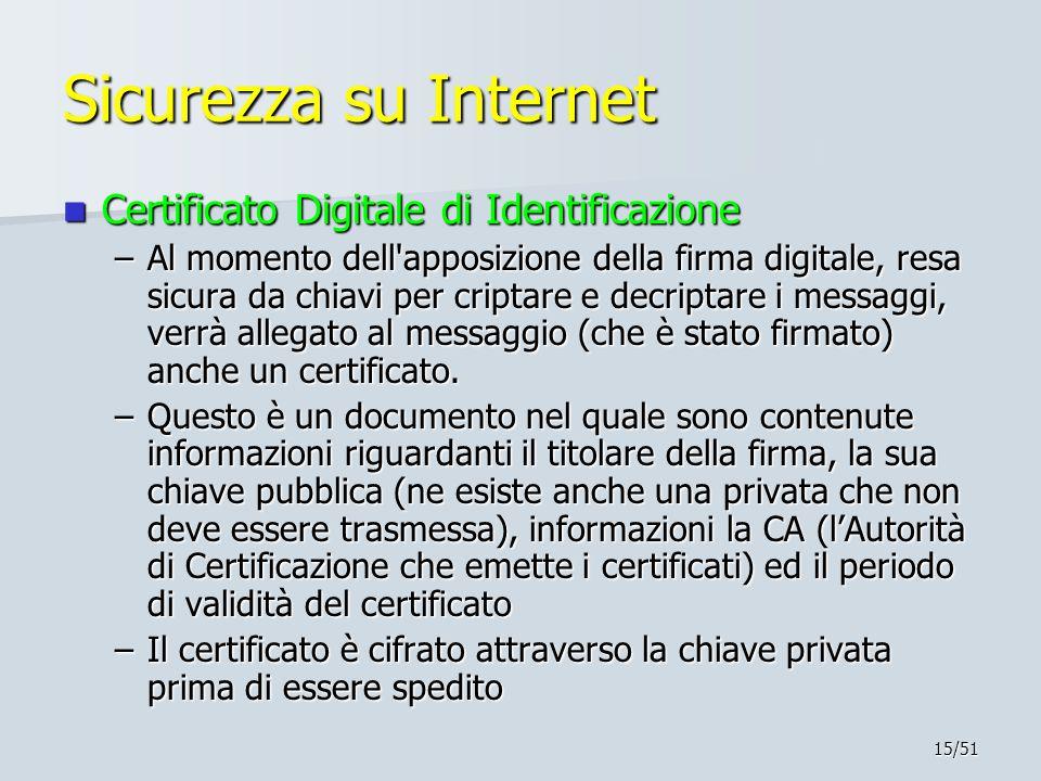 15/51 Sicurezza su Internet Certificato Digitale di Identificazione Certificato Digitale di Identificazione –Al momento dell apposizione della firma digitale, resa sicura da chiavi per criptare e decriptare i messaggi, verrà allegato al messaggio (che è stato firmato) anche un certificato.