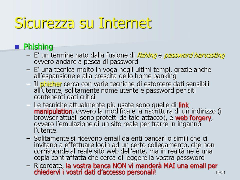 19/51 Sicurezza su Internet Phishing Phishing –E' un termine nato dalla fusione di fishing e password harvesting ovvero andare a pesca di password –E'