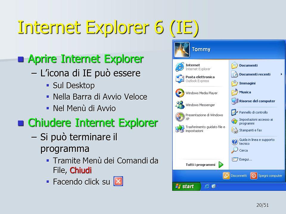20/51 Internet Explorer 6 (IE) Aprire Internet Explorer Aprire Internet Explorer –L'icona di IE può essere  Sul Desktop  Nella Barra di Avvio Veloce  Nel Menù di Avvio Chiudere Internet Explorer Chiudere Internet Explorer –Si può terminare il programma  Tramite Menù dei Comandi da File, Chiudi  Facendo click su