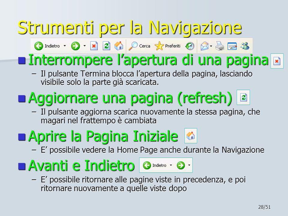 28/51 Strumenti per la Navigazione Interrompere l'apertura di una pagina Interrompere l'apertura di una pagina –Il pulsante Termina blocca l'apertura