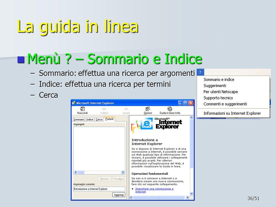 36/51 La guida in linea Menù .– Sommario e Indice Menù .