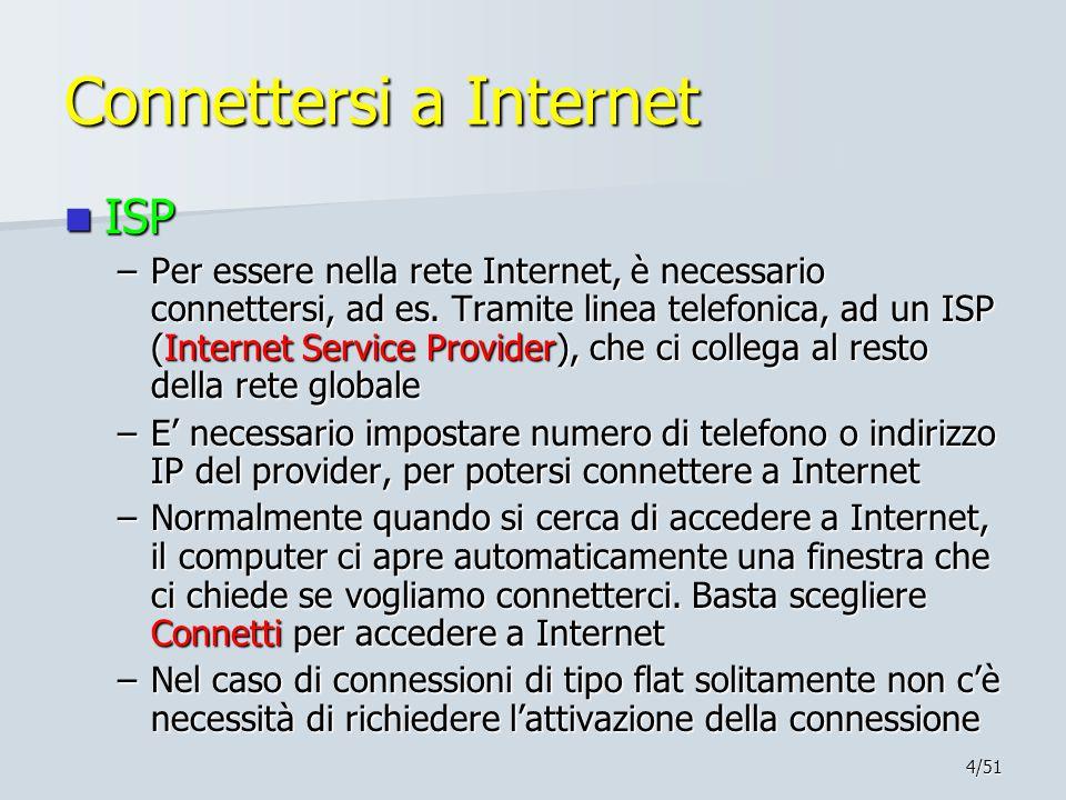 4/51 Connettersi a Internet ISP ISP –Per essere nella rete Internet, è necessario connettersi, ad es. Tramite linea telefonica, ad un ISP (Internet Se