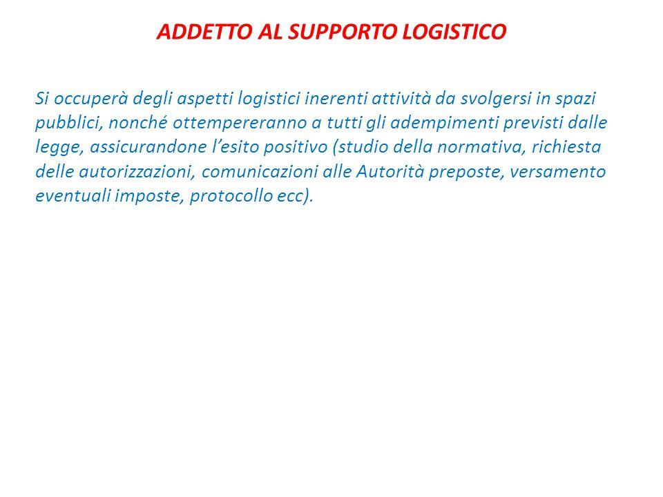 ADDETTO AL SUPPORTO LOGISTICO Si occuperà degli aspetti logistici inerenti attività da svolgersi in spazi pubblici, nonché ottempereranno a tutti gli