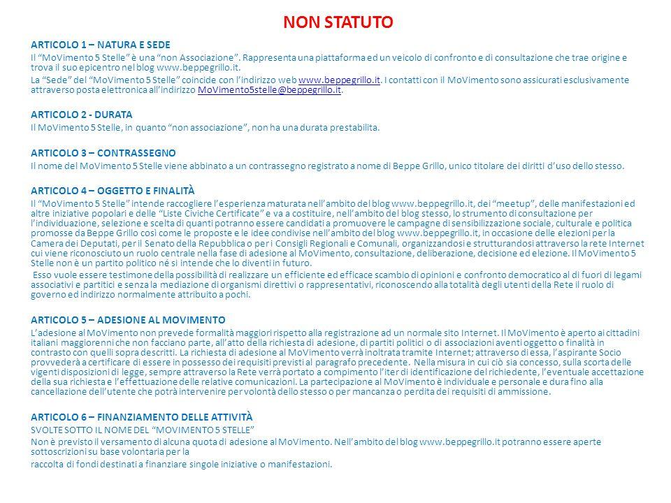 """NON STATUTO ARTICOLO 1 – NATURA E SEDE Il """"MoVimento 5 Stelle"""" è una """"non Associazione"""". Rappresenta una piattaforma ed un veicolo di confronto e di c"""