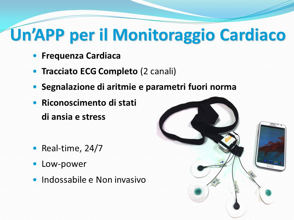 Un'APP per il Monitoraggio Cardiaco Frequenza Cardiaca Tracciato ECG Completo (2 canali) Segnalazione di aritmie e parametri fuori norma Riconosciment