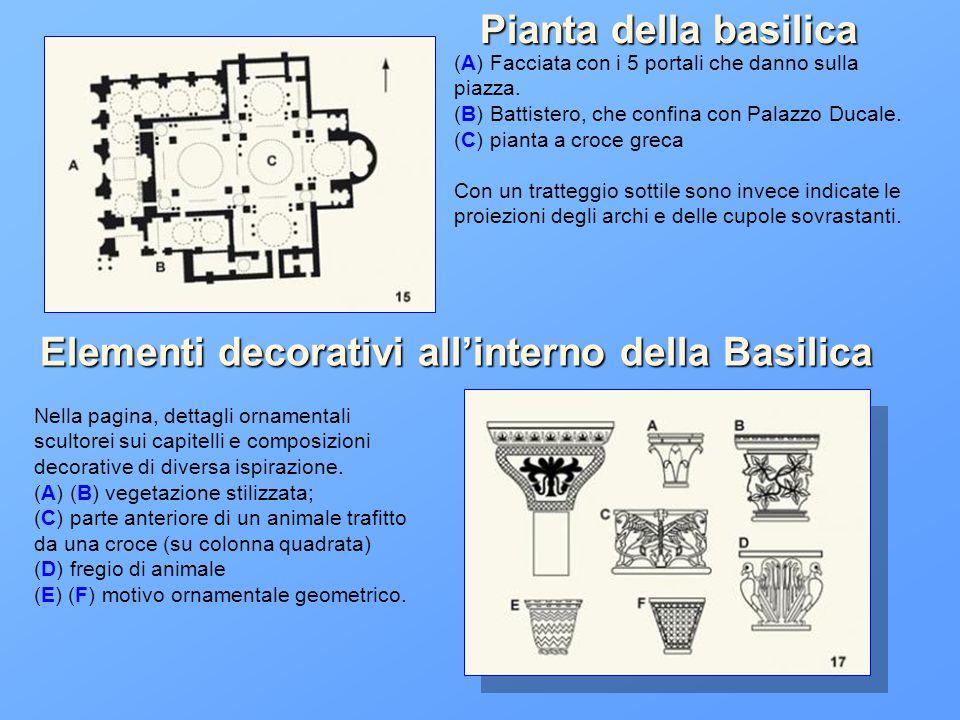 (A) Facciata con i 5 portali che danno sulla piazza. (B) Battistero, che confina con Palazzo Ducale. (C) pianta a croce greca Con un tratteggio sottil