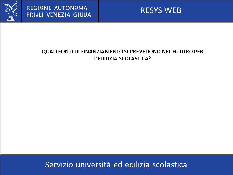 RESYS WEB Servizio università ed edilizia scolastica QUALI FONTI DI FINANZIAMENTO SI PREVEDONO NEL FUTURO PER L'EDILIZIA SCOLASTICA?