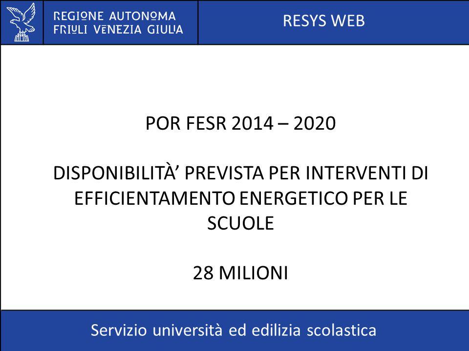 RESYS WEB Servizio università ed edilizia scolastica POR FESR 2014 – 2020 DISPONIBILITÀ' PREVISTA PER INTERVENTI DI EFFICIENTAMENTO ENERGETICO PER LE