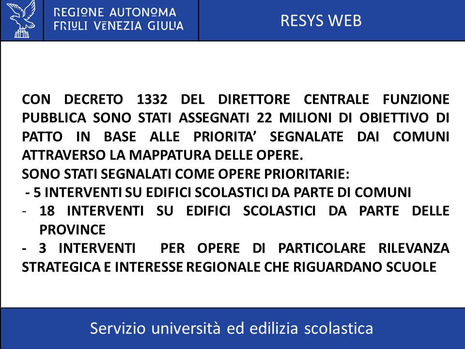 RESYS WEB Servizio università ed edilizia scolastica CON DECRETO 1332 DEL DIRETTORE CENTRALE FUNZIONE PUBBLICA SONO STATI ASSEGNATI 22 MILIONI DI OBIE