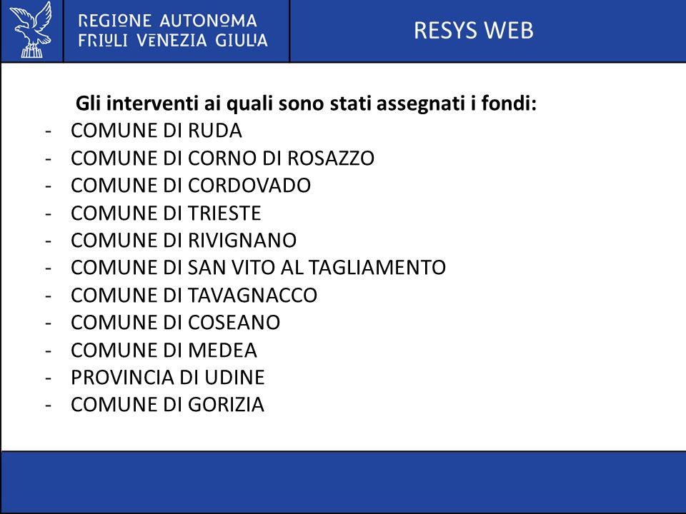 RESYS WEB Servizio università ed edilizia scolastica ESCLUSIONE DAL PATTO DI STABILITA' DI INTERVENTI INDIVIDUATI DAI SINDACI D.L 24 APRILE 2014 N.