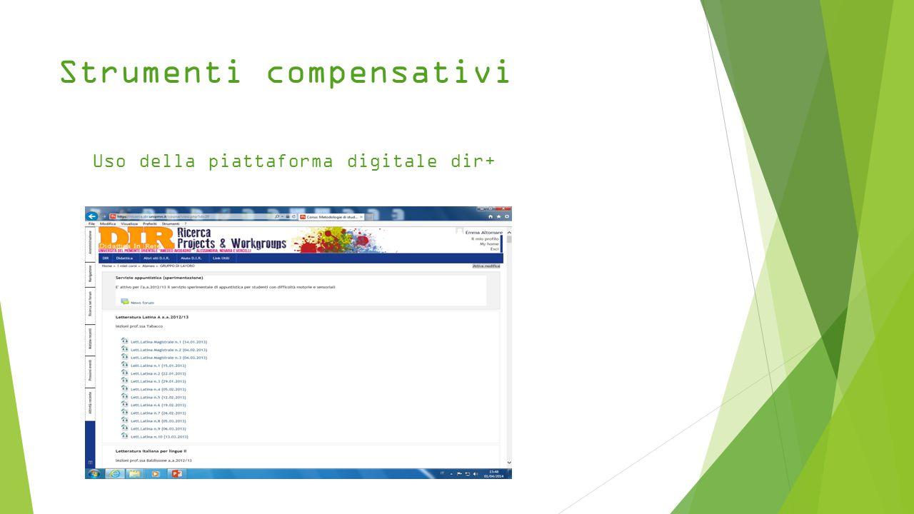Strumenti compensativi Uso della piattaforma digitale dir+