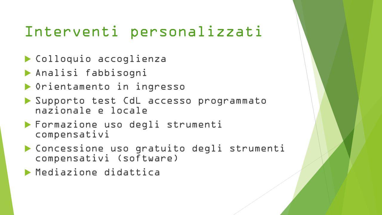 Interventi personalizzati  Colloquio accoglienza  Analisi fabbisogni  Orientamento in ingresso  Supporto test CdL accesso programmato nazionale e