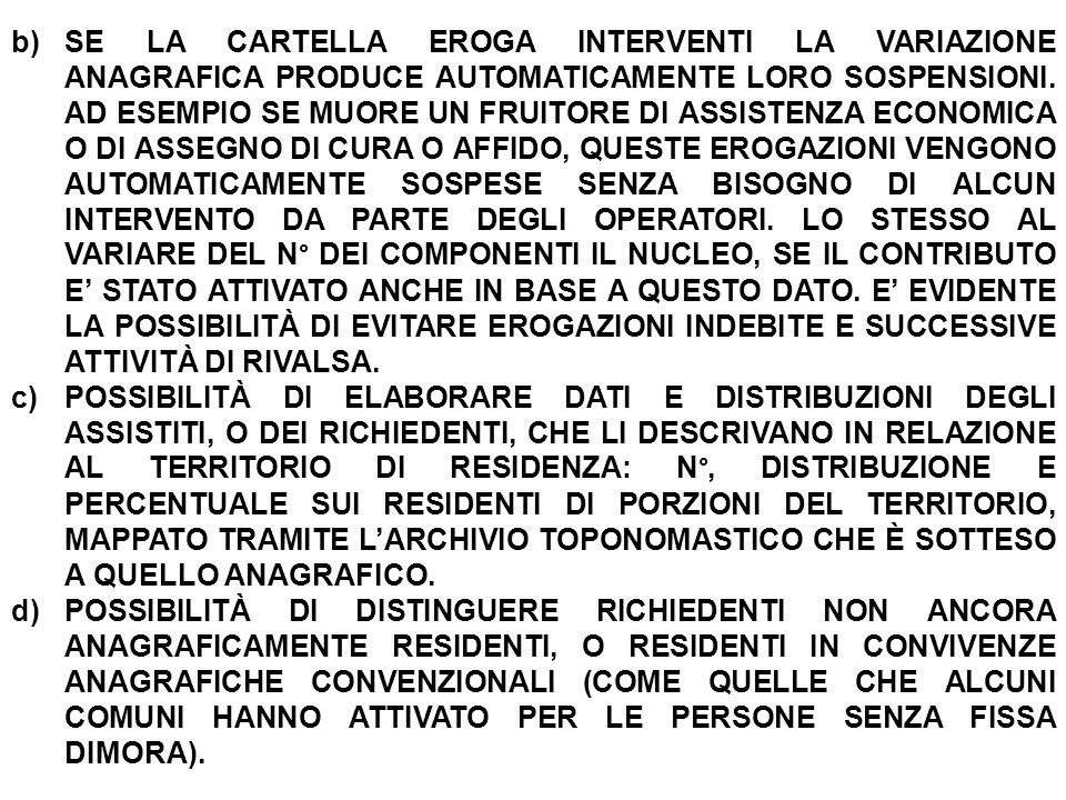 b)SE LA CARTELLA EROGA INTERVENTI LA VARIAZIONE ANAGRAFICA PRODUCE AUTOMATICAMENTE LORO SOSPENSIONI.
