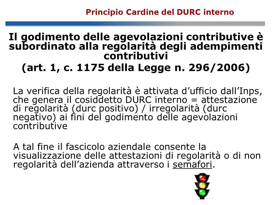 Principio Cardine del DURC interno Il godimento delle agevolazioni contributive è subordinato alla regolarità degli adempimenti contributivi (art.