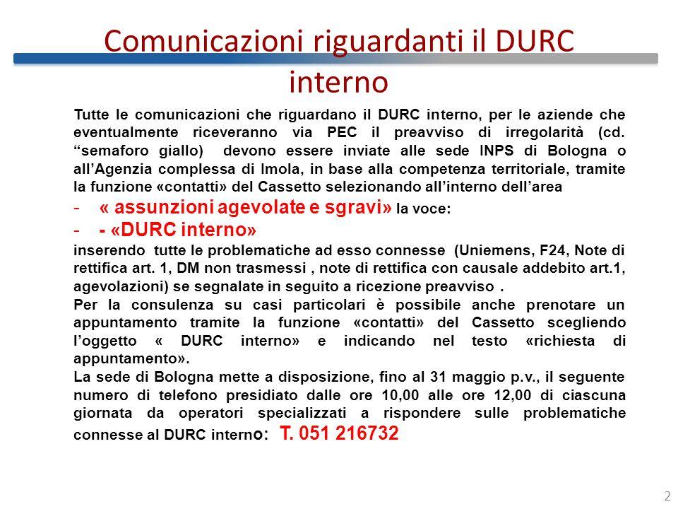 Comunicazioni riguardanti il DURC interno 3 La prima emissione inerente il preavviso di irregolarità riguarderà solo le aziende che hanno usufruito di agevolazioni contributive nel periodo novembre 2012.