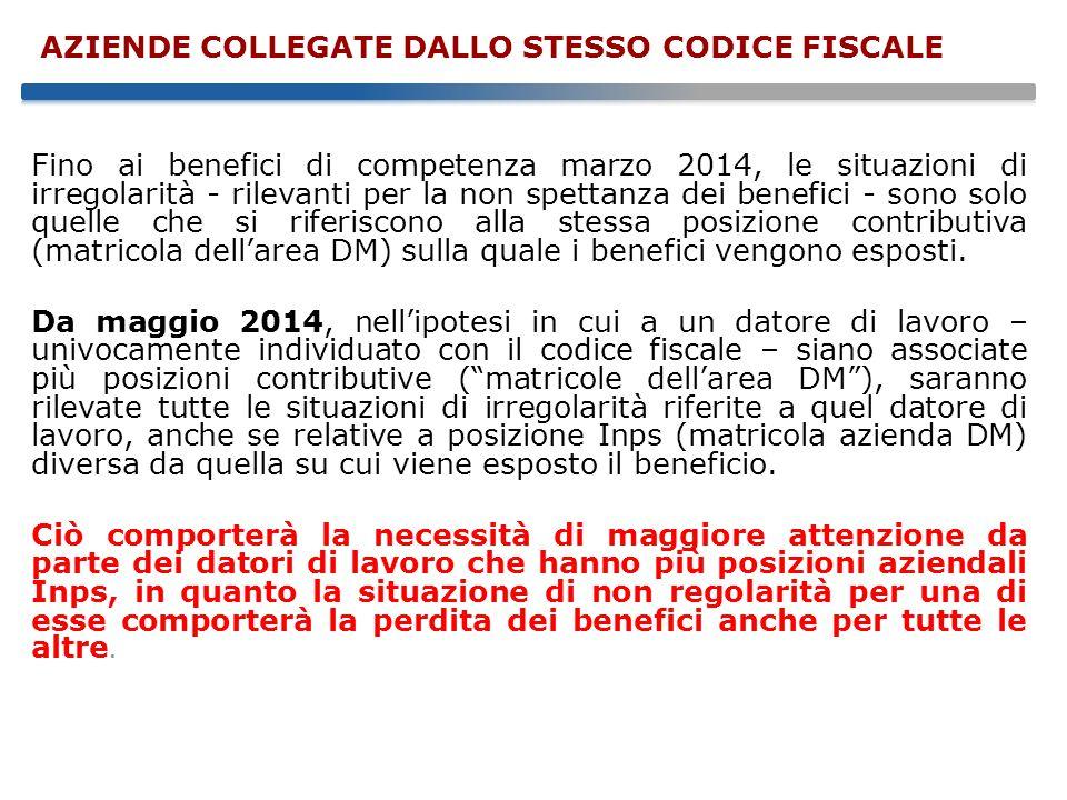 Fino ai benefici di competenza marzo 2014, le situazioni di irregolarità - rilevanti per la non spettanza dei benefici - sono solo quelle che si riferiscono alla stessa posizione contributiva (matricola dell'area DM) sulla quale i benefici vengono esposti.