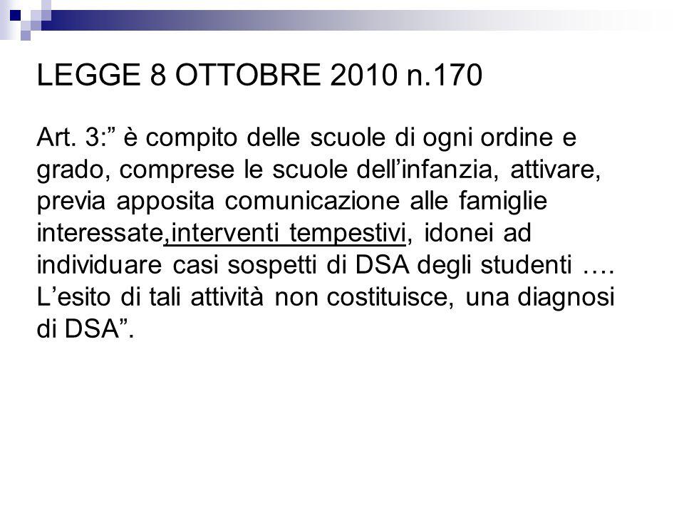 """LEGGE 8 OTTOBRE 2010 n.170 Art. 3:"""" è compito delle scuole di ogni ordine e grado, comprese le scuole dell'infanzia, attivare, previa apposita comunic"""