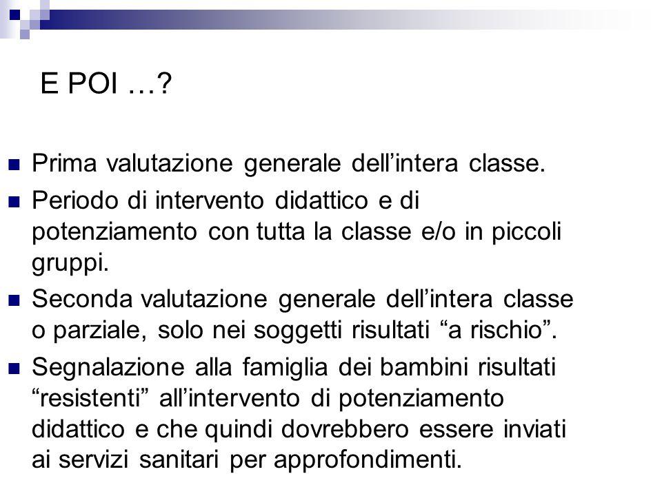 E POI …? Prima valutazione generale dell'intera classe. Periodo di intervento didattico e di potenziamento con tutta la classe e/o in piccoli gruppi.