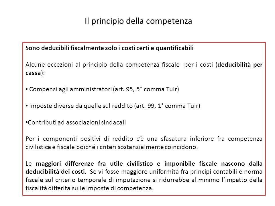 Il principio della competenza Sono deducibili fiscalmente solo i costi certi e quantificabili Alcune eccezioni al principio della competenza fiscale per i costi (deducibilità per cassa): Compensi agli amministratori (art.