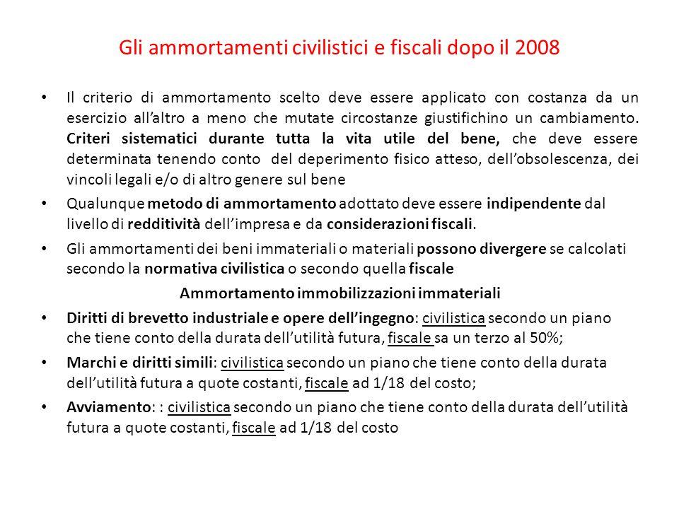 Gli ammortamenti civilistici e fiscali dopo il 2008 Il criterio di ammortamento scelto deve essere applicato con costanza da un esercizio all'altro a meno che mutate circostanze giustifichino un cambiamento.
