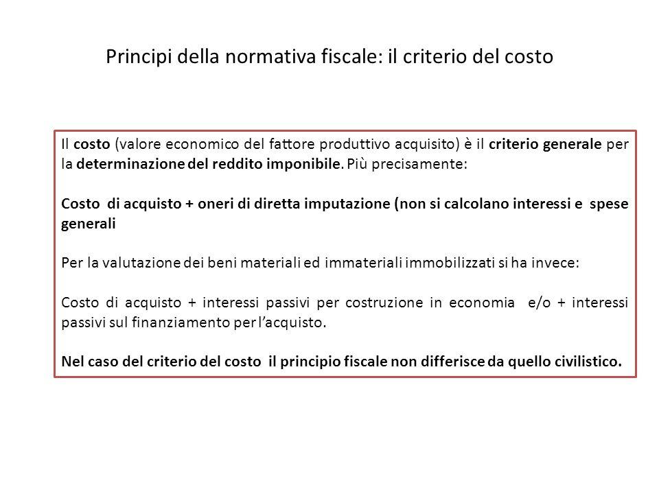 Principi della normativa fiscale: il criterio del costo Il costo (valore economico del fattore produttivo acquisito) è il criterio generale per la determinazione del reddito imponibile.