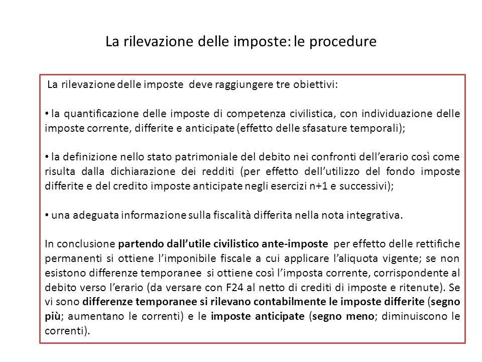 La rilevazione delle imposte: le procedure La rilevazione delle imposte deve raggiungere tre obiettivi: la quantificazione delle imposte di competenza civilistica, con individuazione delle imposte corrente, differite e anticipate (effetto delle sfasature temporali); la definizione nello stato patrimoniale del debito nei confronti dell'erario così come risulta dalla dichiarazione dei redditi (per effetto dell'utilizzo del fondo imposte differite e del credito imposte anticipate negli esercizi n+1 e successivi); una adeguata informazione sulla fiscalità differita nella nota integrativa.