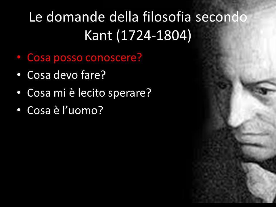 Le domande della filosofia secondo Kant (1724-1804) Cosa posso conoscere? Cosa devo fare? Cosa mi è lecito sperare? Cosa è l'uomo?