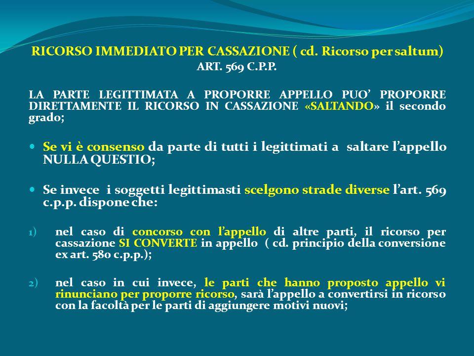 RICORSO IMMEDIATO PER CASSAZIONE ( cd. Ricorso per saltum) ART. 569 C.P.P. LA PARTE LEGITTIMATA A PROPORRE APPELLO PUO' PROPORRE DIRETTAMENTE IL RICOR