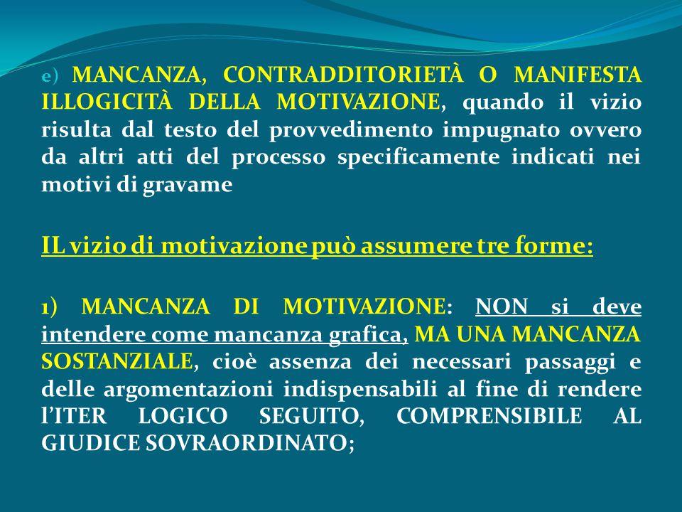 e) MANCANZA, CONTRADDITORIETÀ O MANIFESTA ILLOGICITÀ DELLA MOTIVAZIONE, quando il vizio risulta dal testo del provvedimento impugnato ovvero da altri