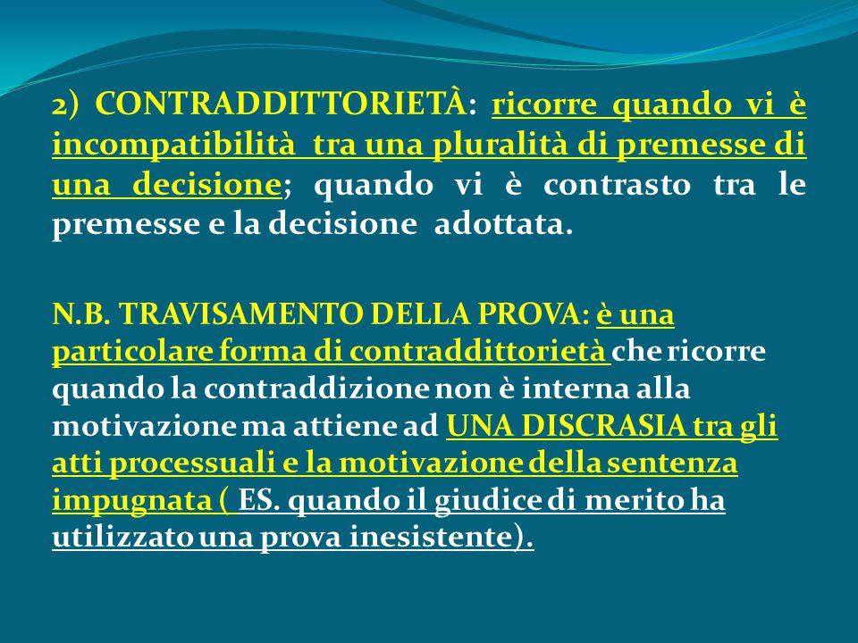 2) CONTRADDITTORIETÀ: ricorre quando vi è incompatibilità tra una pluralità di premesse di una decisione; quando vi è contrasto tra le premesse e la d