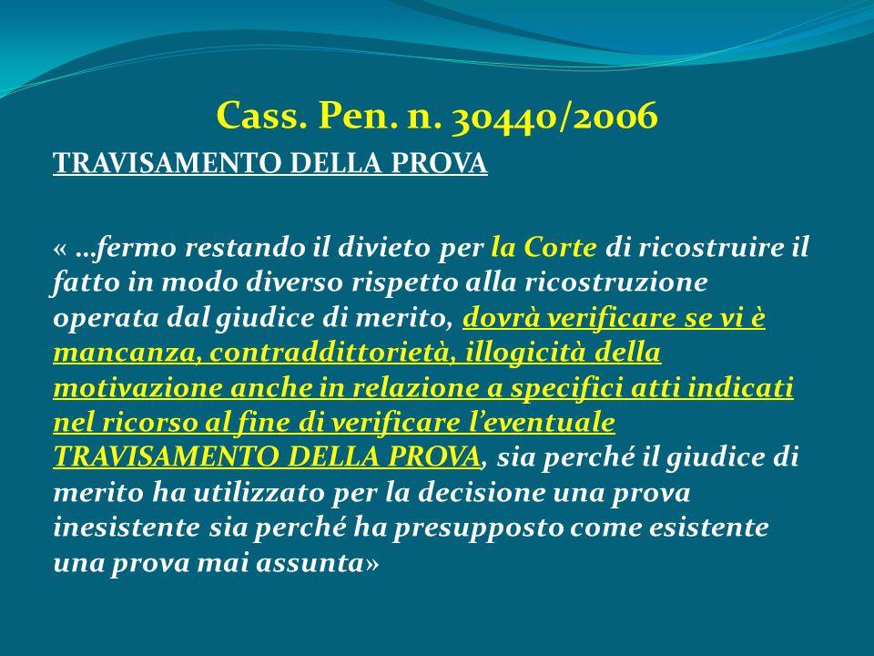 Cass. Pen. n. 30440/2006 TRAVISAMENTO DELLA PROVA « …fermo restando il divieto per la Corte di ricostruire il fatto in modo diverso rispetto alla rico
