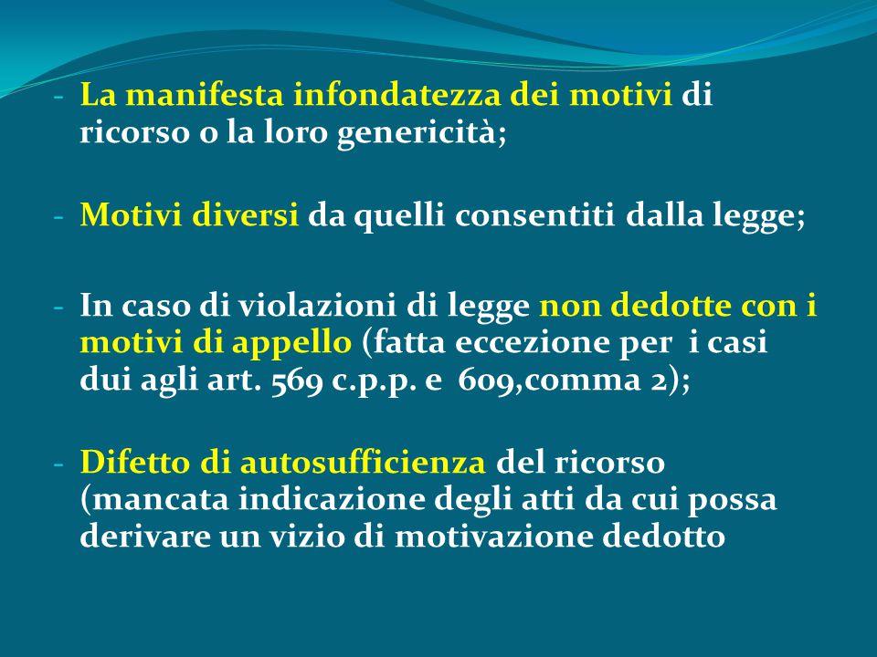 - La manifesta infondatezza dei motivi di ricorso o la loro genericità; - Motivi diversi da quelli consentiti dalla legge; - In caso di violazioni di