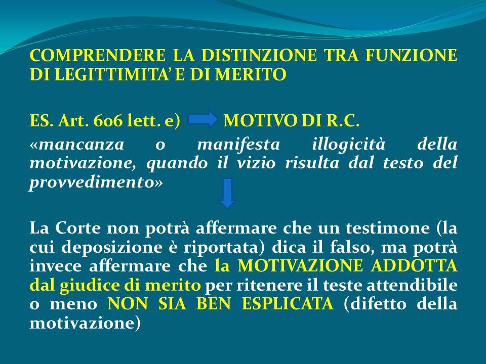 COMPRENDERE LA DISTINZIONE TRA FUNZIONE DI LEGITTIMITA' E DI MERITO ES. Art. 606 lett. e) MOTIVO DI R.C. «mancanza o manifesta illogicità della motiva