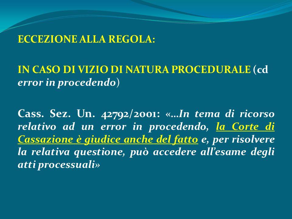 ECCEZIONE ALLA REGOLA: IN CASO DI VIZIO DI NATURA PROCEDURALE (cd error in procedendo) Cass. Sez. Un. 42792/2001: «…In tema di ricorso relativo ad un