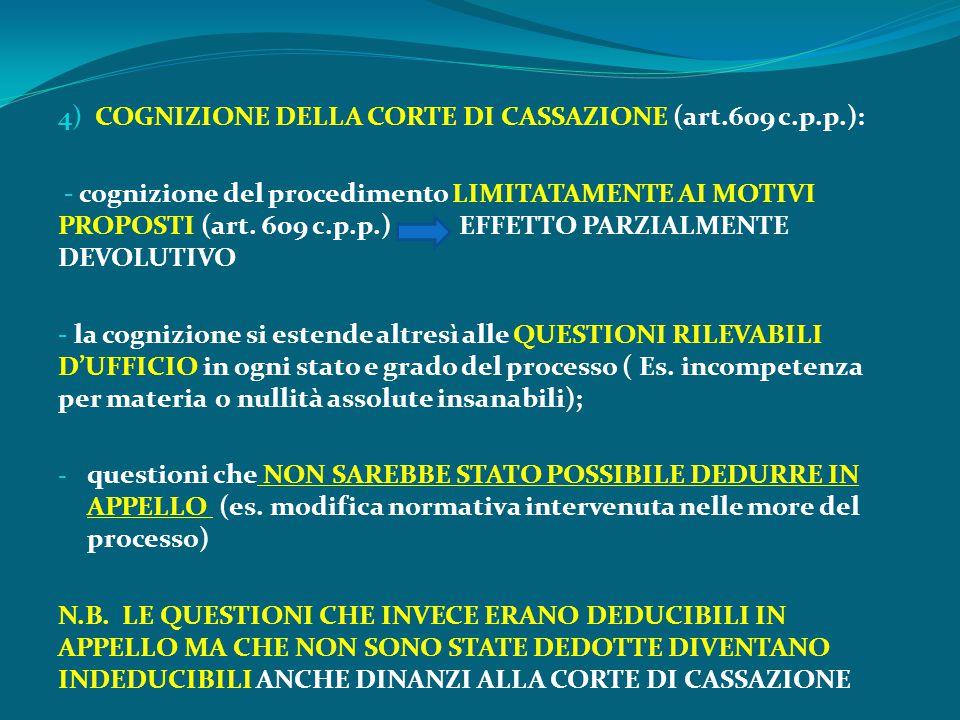 4) COGNIZIONE DELLA CORTE DI CASSAZIONE (art.609 c.p.p.): - cognizione del procedimento LIMITATAMENTE AI MOTIVI PROPOSTI (art. 609 c.p.p.) EFFETTO PAR