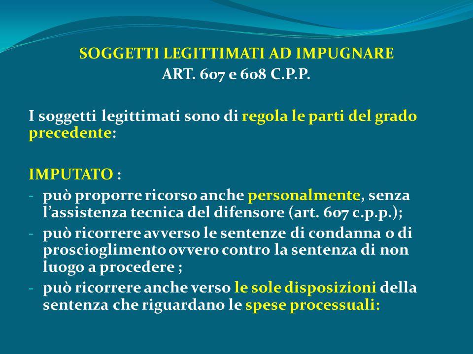SOGGETTI LEGITTIMATI AD IMPUGNARE ART. 607 e 608 C.P.P. I soggetti legittimati sono di regola le parti del grado precedente: IMPUTATO : - può proporre