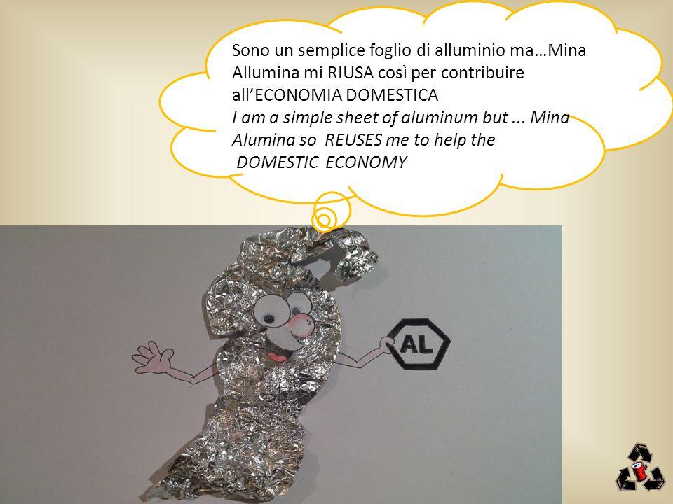 Sono un semplice foglio di alluminio ma…Mina Allumina mi RIUSA così per contribuire all'ECONOMIA DOMESTICA I am a simple sheet of aluminum but... Mina