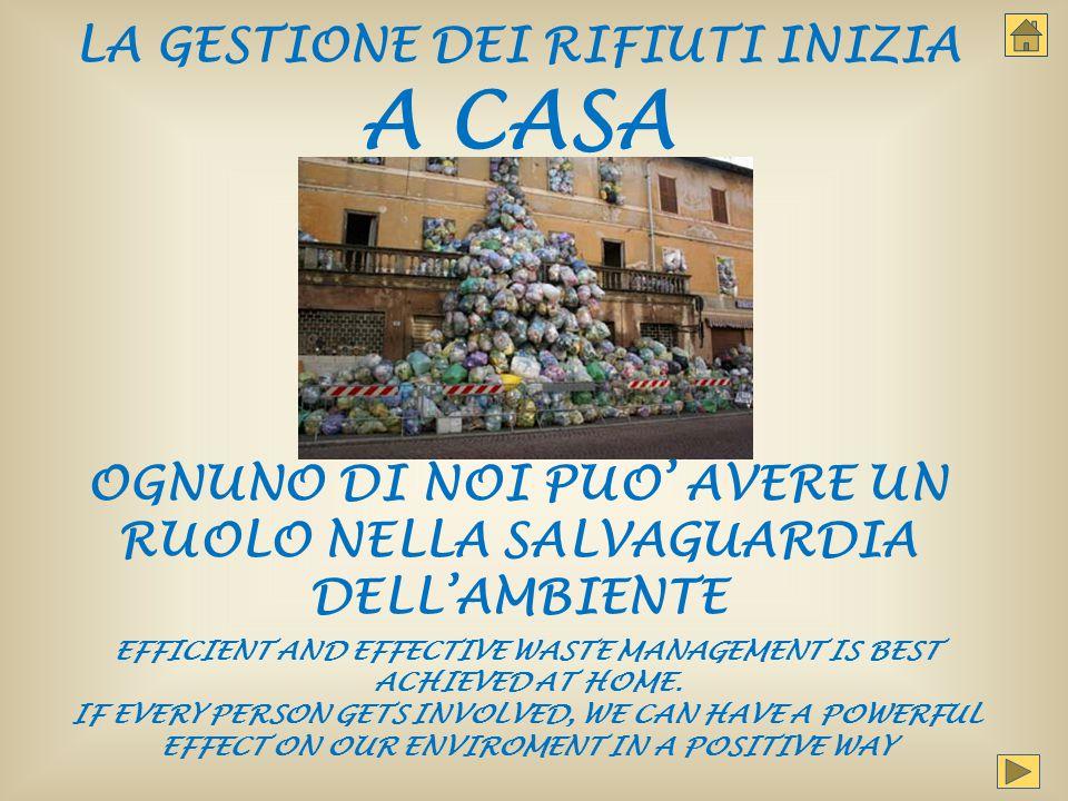 IL RIFIUTO MIGLIORE E' QUELLO CHE NON SI CREA THE BEST WASTE IS THE ONE YOU DON'T PRODUCE COME.