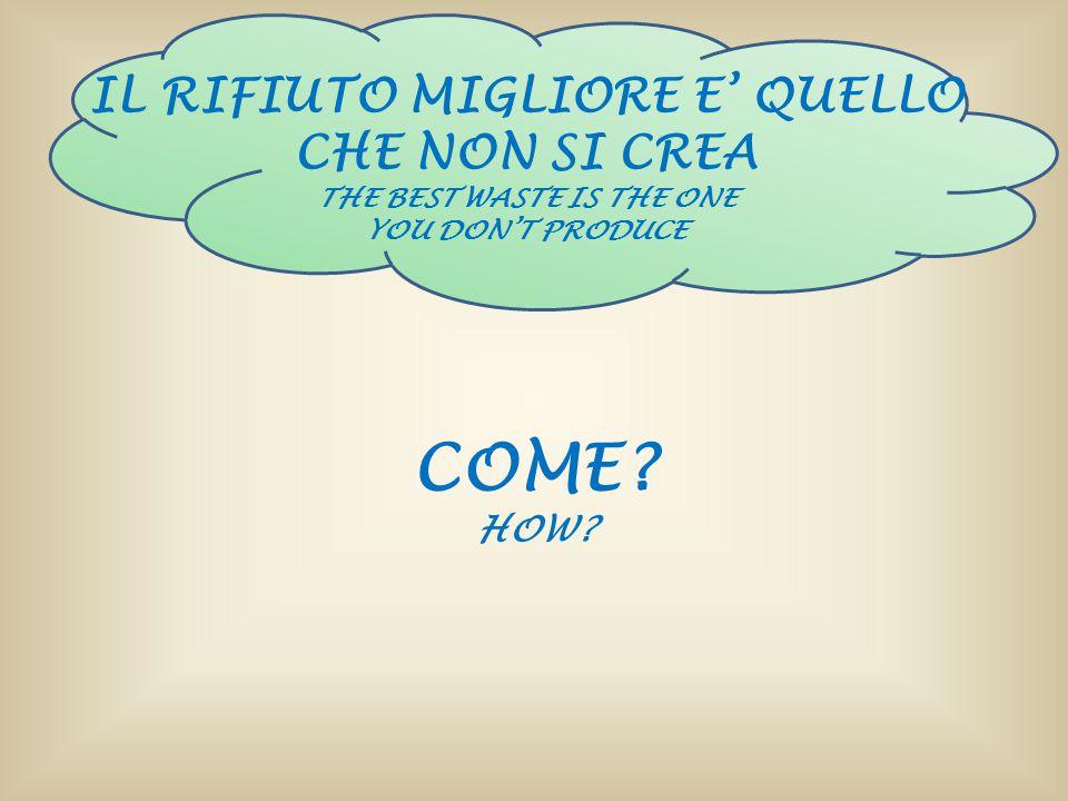 IL RIFIUTO MIGLIORE E' QUELLO CHE NON SI CREA THE BEST WASTE IS THE ONE YOU DON'T PRODUCE COME? HOW?